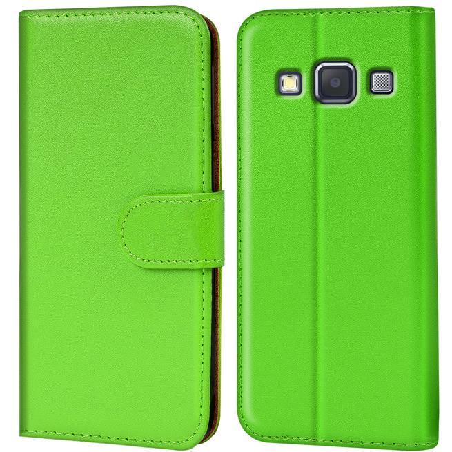 Basic Bookcase Hülle für Samsung Galaxy A7 Klapphülle Tasche mit Kartenfächer in Grün