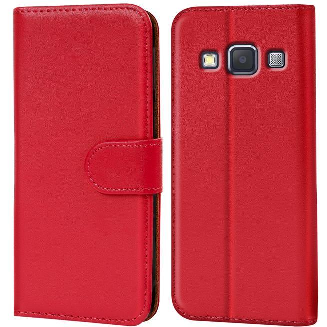 Basic Bookcase Hülle für Samsung Galaxy A7 Klapphülle Tasche mit Kartenfächer in Rot