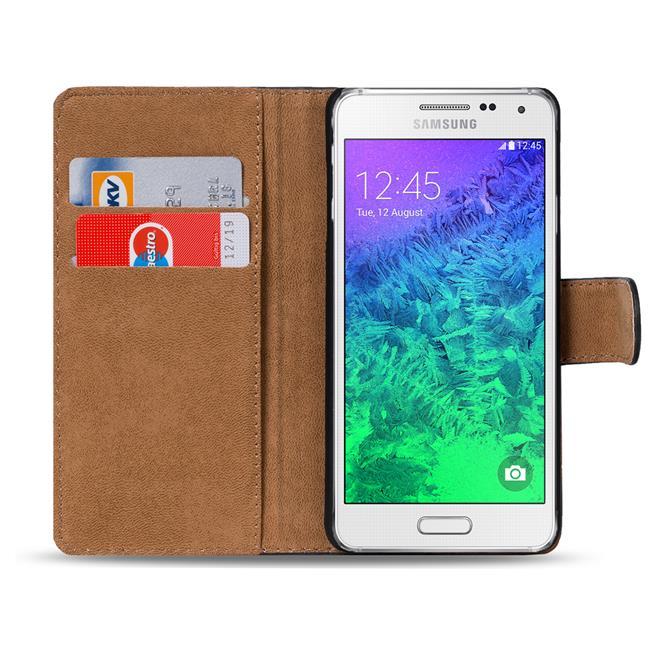 Basic Bookcase Hülle für Samsung Galaxy Alpha klappbare Schutztasche