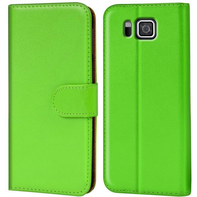 Basic Bookcase Hülle für Samsung Galaxy Alpha Klapphülle Tasche mit Kartenfächer in Grün