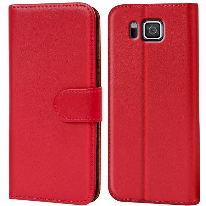 Basic Bookcase Hülle für Samsung Galaxy Alpha Klapphülle Tasche mit Kartenfächer in Rot