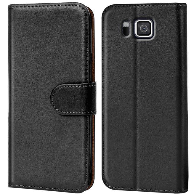Basic Bookcase Hülle für Samsung Galaxy Alpha Klapphülle Tasche mit Kartenfächer in Schwarz