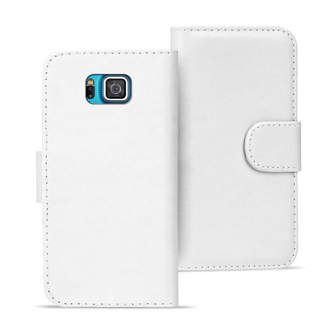 Basic Bookcase Hülle für Samsung Galaxy Alpha Klapphülle Tasche mit Kartenfächer in Weiss