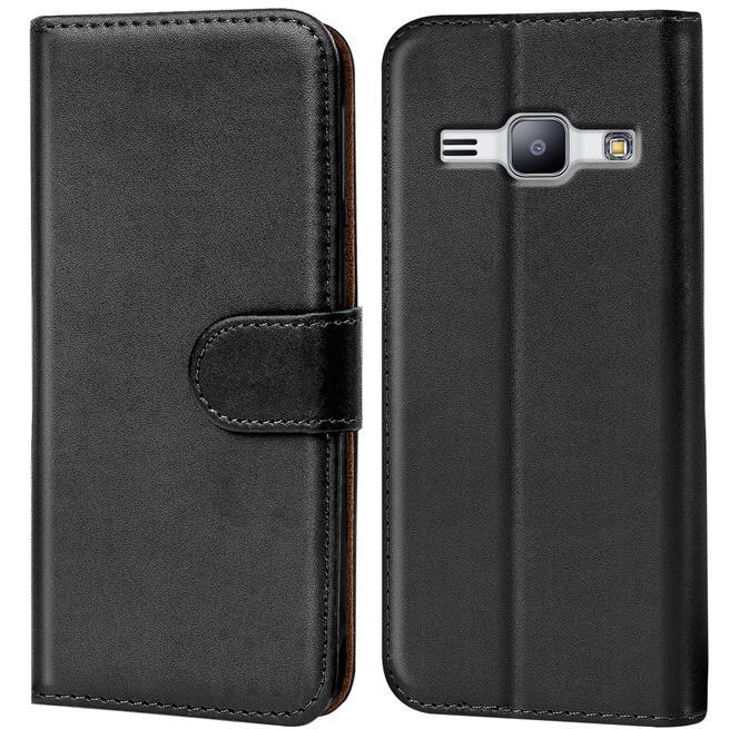 Basic Bookcase Hülle für Samsung Galaxy J1 Mini 2016 Klapphülle Tasche mit Kartenfächer in Schwarz