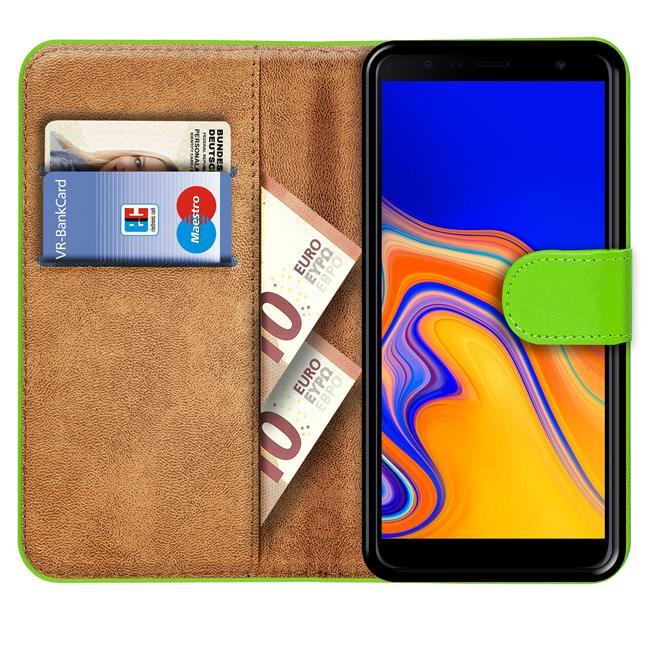 Basic Bookcase Hülle für Samsung Galaxy J4 Plus klappbare Schutzhülle