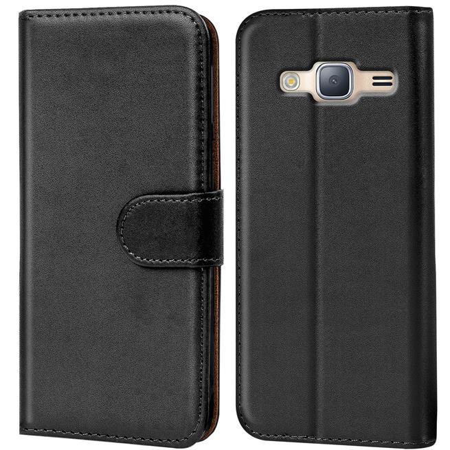 Basic Bookcase Hülle für Samsung Galaxy J5 Klapphülle Tasche mit Kartenfächer in Schwarz