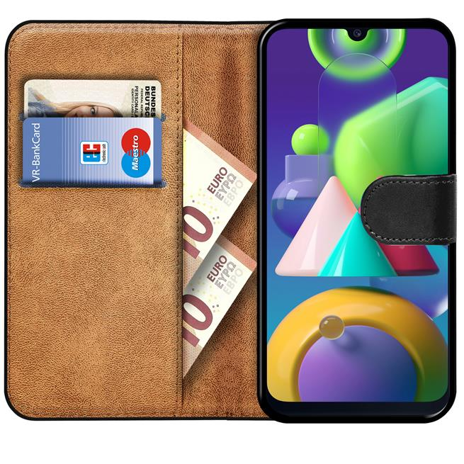 Basic Bookcase Hülle für Samsung Galaxy M30s M21 Case klappbare Schutzhülle
