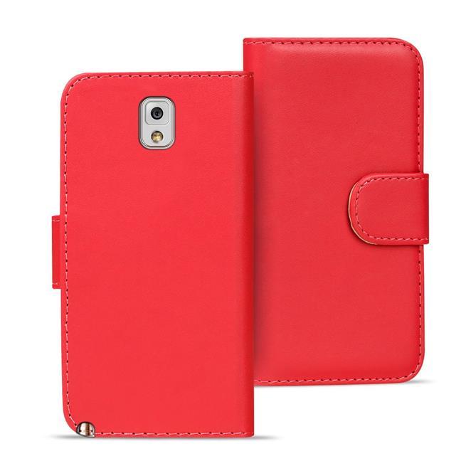 Basic Bookcase Hülle für Samsung Galaxy Note 3 Klapphülle Tasche mit Kartenfächer in Rot