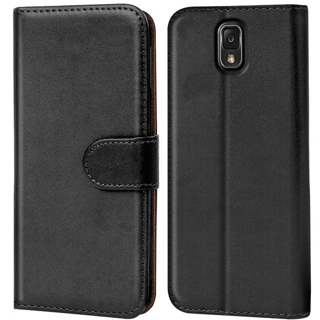 Basic Bookcase Hülle für Samsung Galaxy Note 3 Klapphülle Tasche mit Kartenfächer in Schwarz