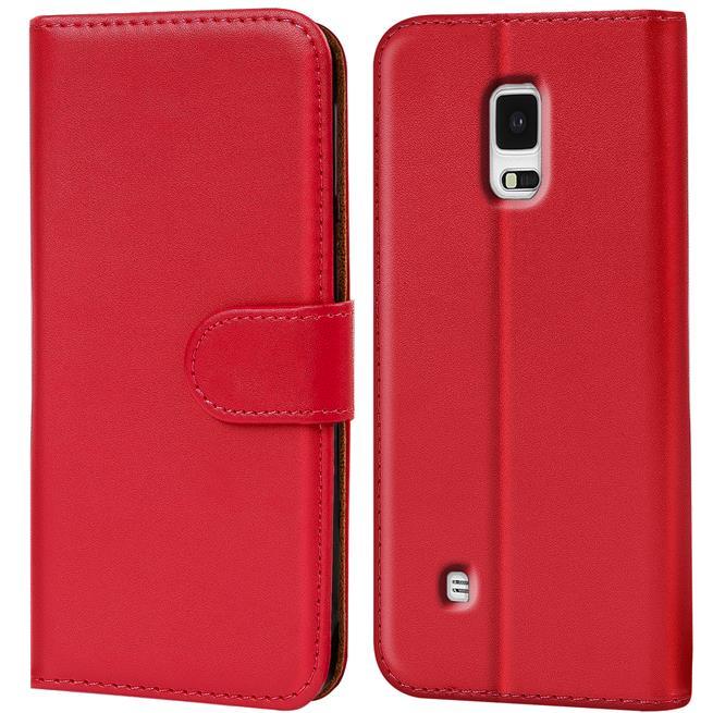 Basic Bookcase Hülle für Samsung Galaxy Note Edge Klapphülle Tasche mit Kartenfächer in Rot