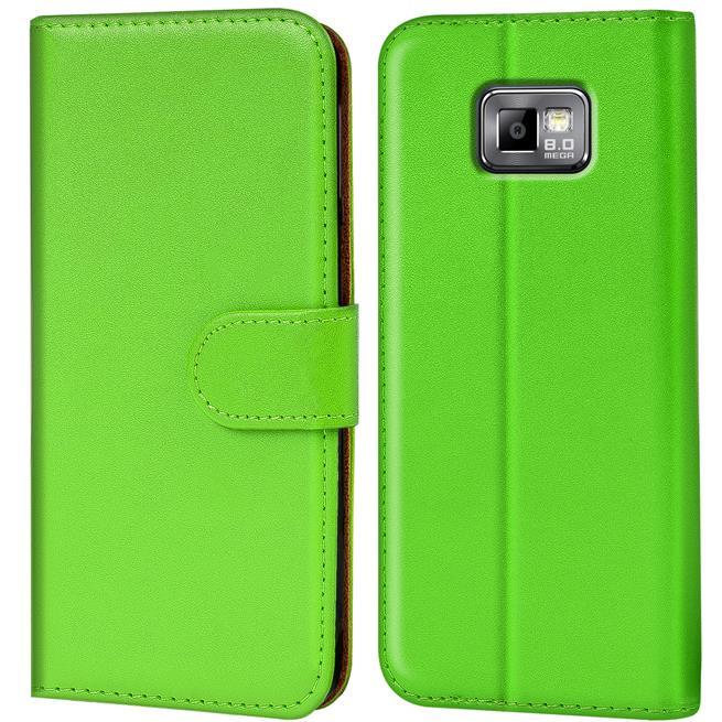 Basic Bookcase Hülle für Samsung Galaxy S2 / S2 Plus Klapphülle Tasche mit Kartenfächer in Grün
