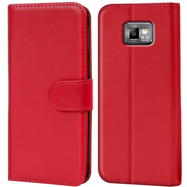 Basic Bookcase Hülle für Samsung Galaxy S2 / S2 Plus Klapphülle Tasche mit Kartenfächer in Rot