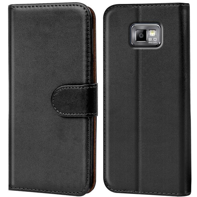 Basic Bookcase Hülle für Samsung Galaxy S2 / S2 Plus Klapphülle Tasche mit Kartenfächer in Schwarz