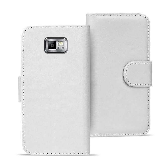 Basic Bookcase Hülle für Samsung Galaxy S2 / S2 Plus Klapphülle Tasche mit Kartenfächer in Weiss