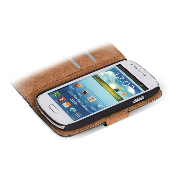 Basic Bookcase Hülle für Samsung Galaxy S3 Mini Klapphülle Tasche mit Kartenfächer in Pink