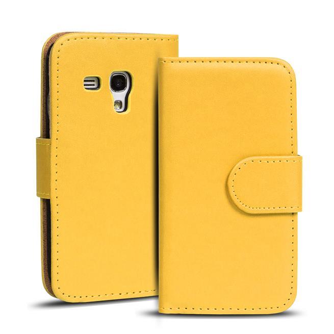 Basic Bookcase Hülle für Samsung Galaxy S3 Mini Klapphülle Tasche mit Kartenfächer in Gelb