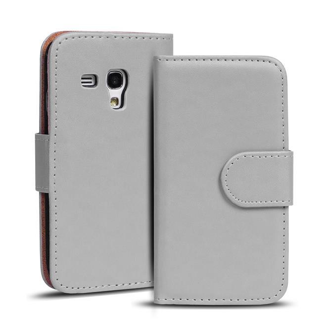 Basic Bookcase Hülle für Samsung Galaxy S3 Mini Klapphülle Tasche mit Kartenfächer in Grau