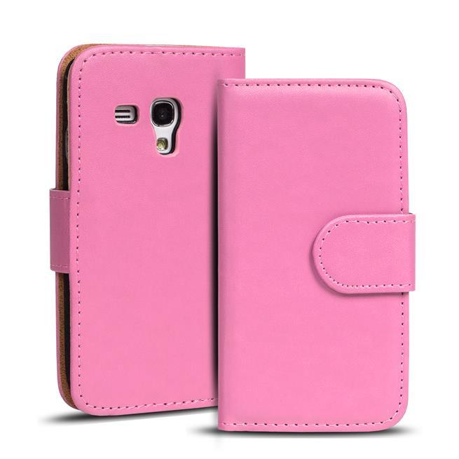Basic Bookcase Hülle für Samsung Galaxy S3 Mini Klapphülle Tasche mit Kartenfächer in Rosa