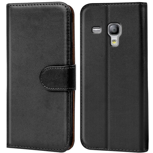 Basic Bookcase Hülle für Samsung Galaxy S3 Mini Klapphülle Tasche mit Kartenfächer in Schwarz