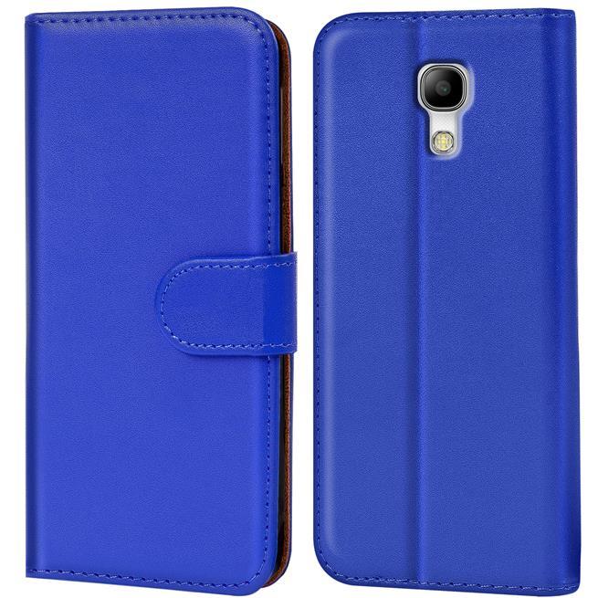 Basic Bookcase Hülle für Samsung Galaxy S4 Klapphülle Tasche mit Kartenfächer in Blau