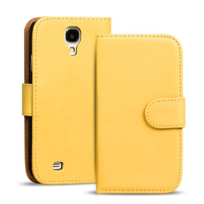 Basic Bookcase Hülle für Samsung Galaxy S4 Mini Klapphülle Tasche mit Kartenfächer in Gelb