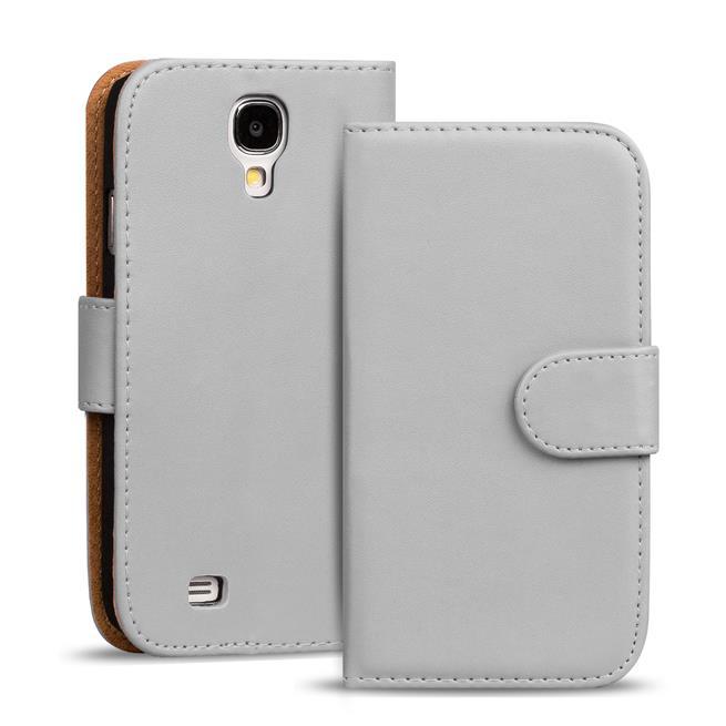 Basic Bookcase Hülle für Samsung Galaxy S4 Mini Klapphülle Tasche mit Kartenfächer in Grau