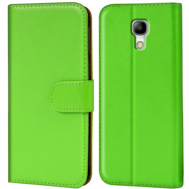 Basic Bookcase Hülle für Samsung Galaxy S4 Mini Klapphülle Tasche mit Kartenfächer in Grün