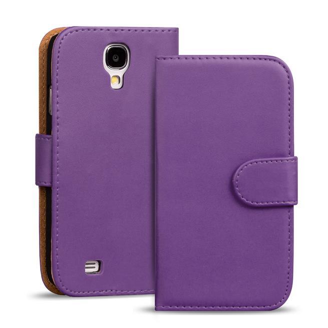 Basic Bookcase Hülle für Samsung Galaxy S4 Mini Klapphülle Tasche mit Kartenfächer in Lila