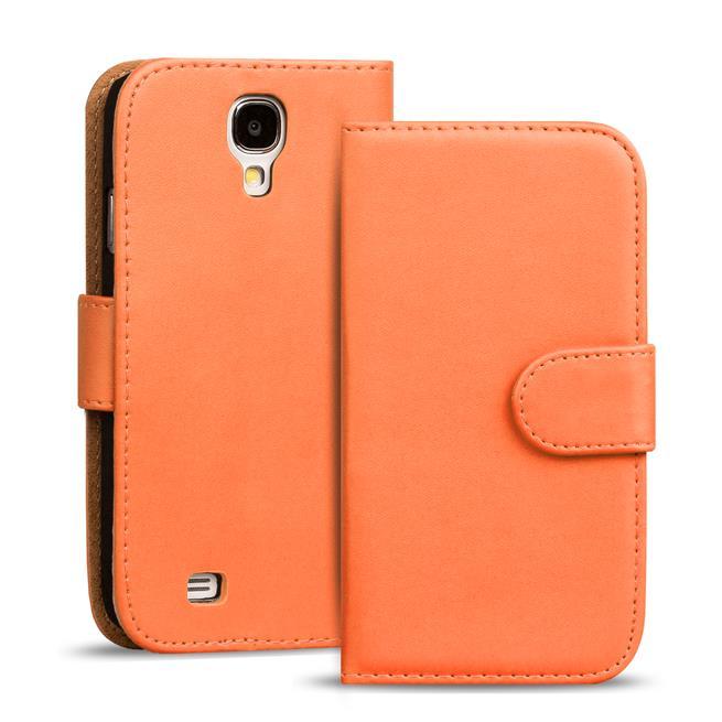 Basic Bookcase Hülle für Samsung Galaxy S4 Mini Klapphülle Tasche mit Kartenfächer in Orange