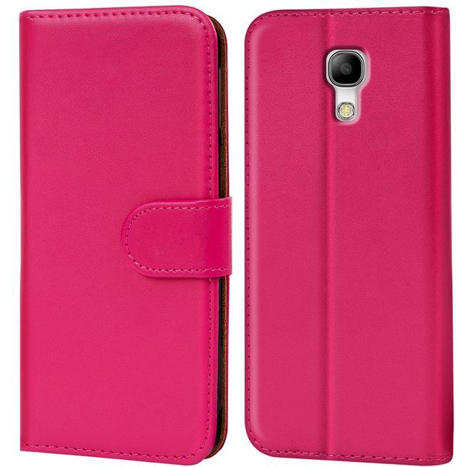 Basic Bookcase Hülle für Samsung Galaxy S4 Klapphülle Tasche mit Kartenfächer in Pink