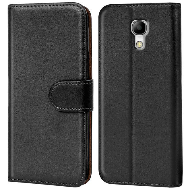 Basic Bookcase Hülle für Samsung Galaxy S4 Klapphülle Tasche mit Kartenfächer in Schwarz