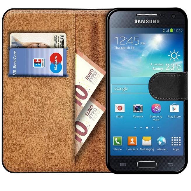 Basic Bookcase Hülle für Samsung Galaxy S4 Case klappbare Schutzhülle