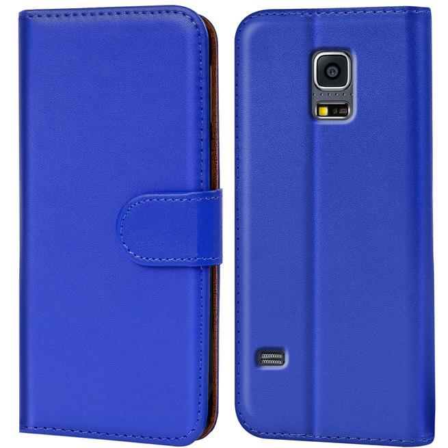 Basic Bookcase Hülle für Samsung Galaxy S5 / S5 Neo Klapphülle Tasche mit Kartenfächer in Blau