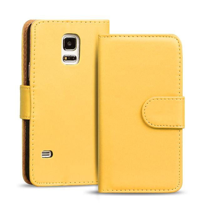 Basic Bookcase Hülle für Samsung Galaxy S5 / S5 Neo Klapphülle Tasche mit Kartenfächer in Gelb