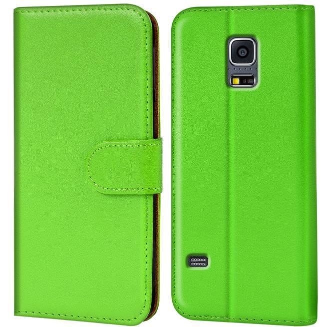 Basic Bookcase Hülle für Samsung Galaxy S5 / S5 Neo Klapphülle Tasche mit Kartenfächer in Grün