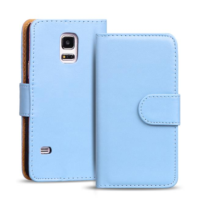 Basic Bookcase Hülle für Samsung Galaxy S5 / S5 Neo Klapphülle Tasche mit Kartenfächer in Hellblau