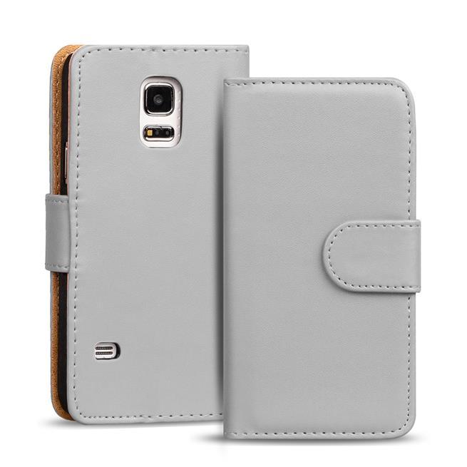 Basic Bookcase Hülle für Samsung Galaxy S5 Mini Klapphülle Tasche mit Kartenfächer in Grau