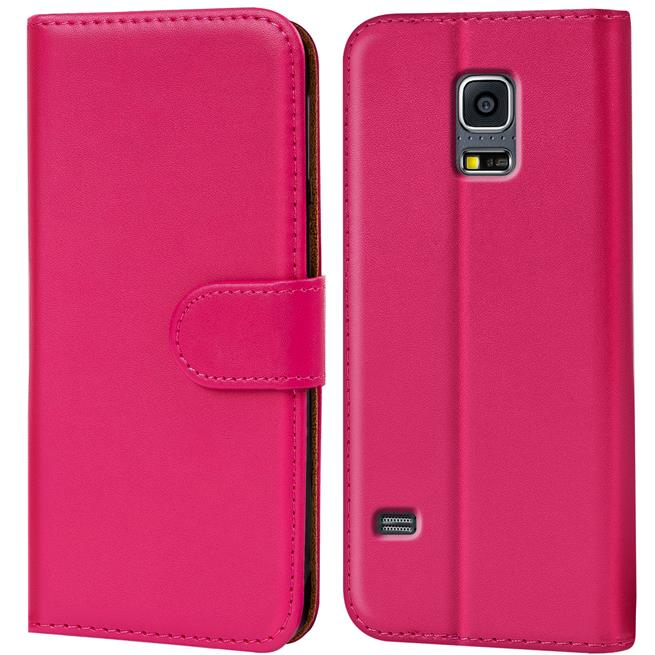 Basic Bookcase Hülle für Samsung Galaxy S5 Mini Klapphülle Tasche mit Kartenfächer in Pink