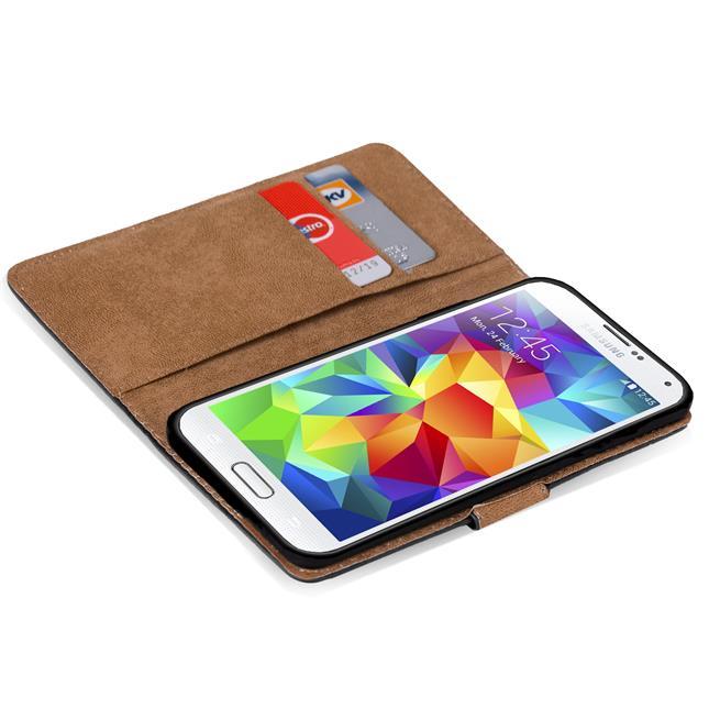 Basic Bookcase Hülle für Samsung Galaxy S5 Mini Case klappbare Schutzhülle