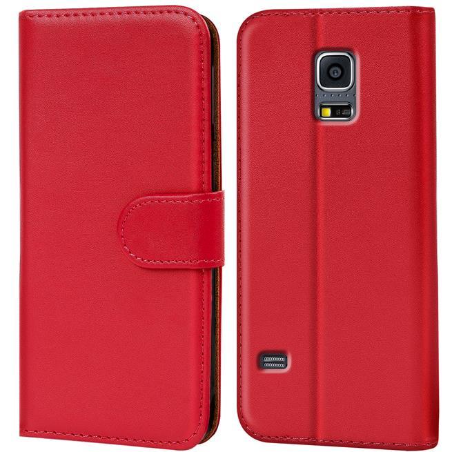 Basic Bookcase Hülle für Samsung Galaxy S5 / S5 Neo Klapphülle Tasche mit Kartenfächer in Rot
