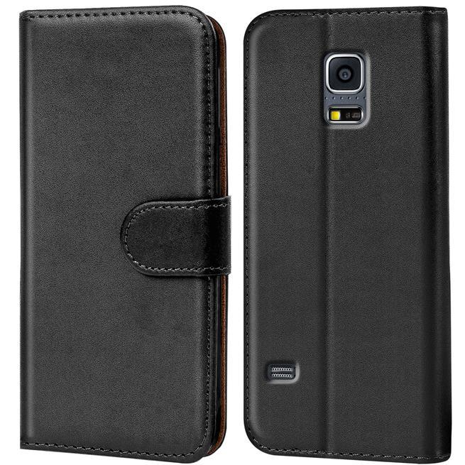 Basic Bookcase Hülle für Samsung Galaxy S5 / S5 Neo Klapphülle Tasche mit Kartenfächer in Schwarz