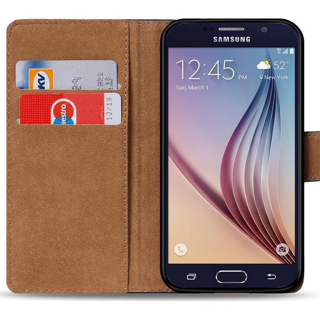 Basic Bookcase Hülle für Samsung Galaxy S6 Klapphülle Tasche mit Kartenfächer in Schwarz