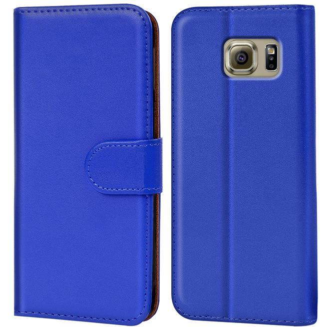 Basic Bookcase Hülle für Samsung Galaxy S6 Edge Klapphülle Tasche mit Kartenfächer in Blau