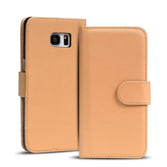 Basic Bookcase Hülle für Samsung Galaxy S6 Edge Klapphülle Tasche mit Kartenfächer in Creme