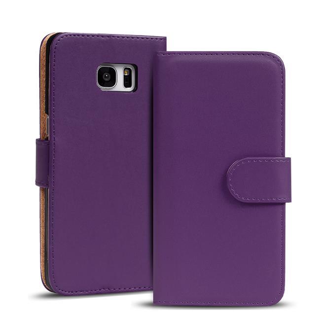 Basic Bookcase Hülle für Samsung Galaxy S6 Edge Klapphülle Tasche mit Kartenfächer in Lila