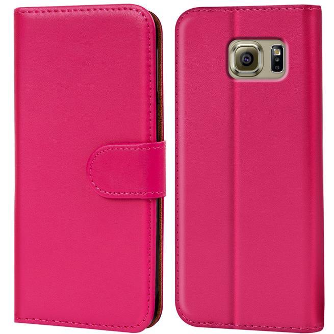 Basic Bookcase Hülle für Samsung Galaxy S6 Edge Plus Klapphülle Tasche mit Kartenfächer in Pink
