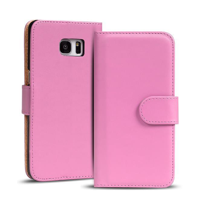 Basic Bookcase Hülle für Samsung Galaxy S6 Edge Klapphülle Tasche mit Kartenfächer in Rosa