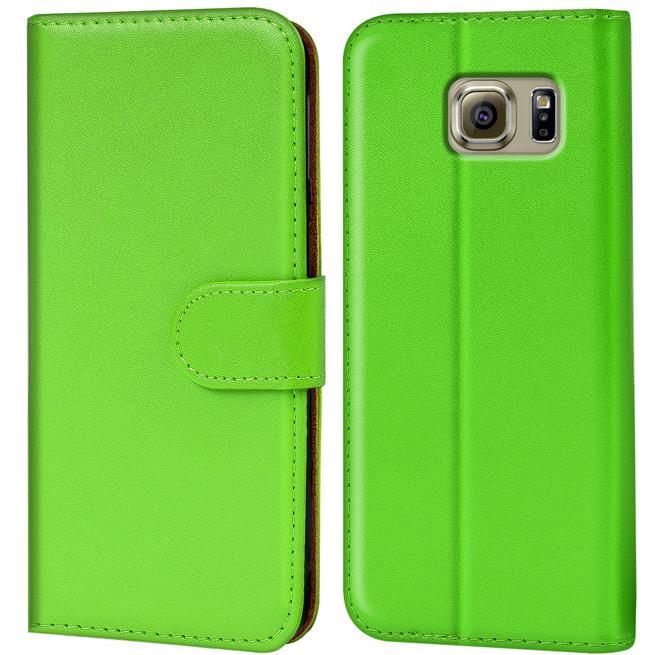 Basic Bookcase Hülle für Samsung Galaxy S6 Klapphülle Tasche mit Kartenfächer in Grün