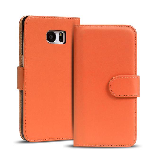 Basic Bookcase Hülle für Samsung Galaxy S6 Klapphülle Tasche mit Kartenfächer in Orange