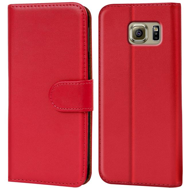 Basic Bookcase Hülle für Samsung Galaxy S6 Klapphülle Tasche mit Kartenfächer in Rot